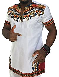 Men's Casual Short Sleeve African Print Dashiki T-Shirt Tops