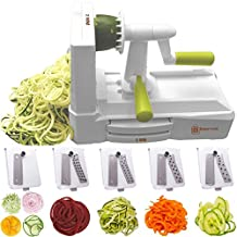 Brieftons 5-Blade Spiralizer: Strongest-and-Heaviest Duty Vegetable Spiral Slicer, Best Veggie Pasta Spaghetti Maker for Low Carb/Paleo/Gluten-Free Meals, With Extra Storage Caddy & 3 Recipe eBooks