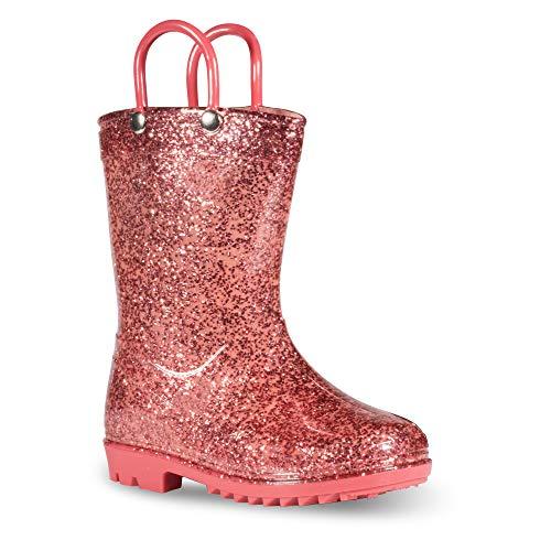 Chillipop Children's Glitter Rain Boots for Little Kids & Toddlers, Boys & Girls Rose -