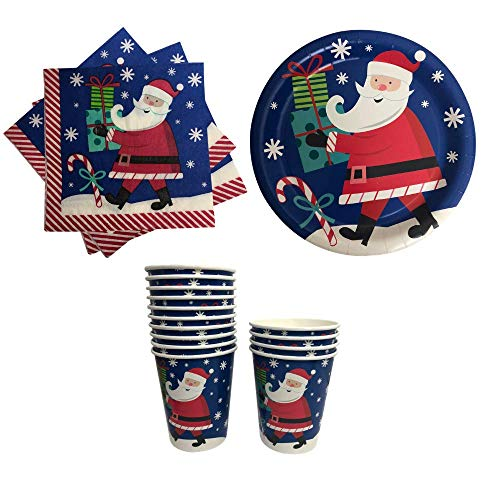 Christmas Paper Plates Napkins and Cups with Santa- Great for Parties (2018 Blue)