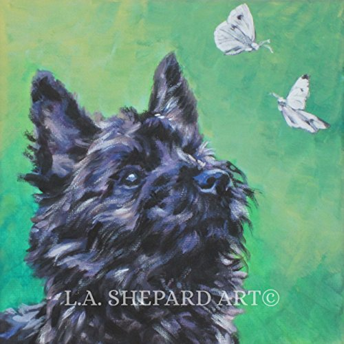 A Cairn Terrier art portrait print of an LA Shepard painting 8x8