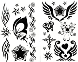 SPESTYLE waterproof non-toxic temporary tattoo stickerslatest 1 package with 2pcs waterproof black star butterfly sun and totem temporary tattoos