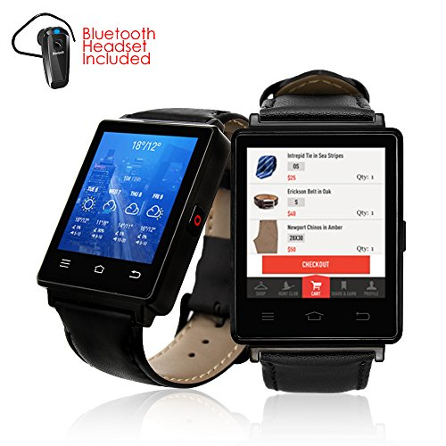 Indigi NEW 2017 3G GSM Unlocked SmartWatch & Phone + WiFi + GPS + Bluetooth 4.0 + Heart Rate Monitor + Bluetooth Included by inDigi