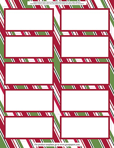 Holiday Stripes Address Label (Great Papers! Holiday Stripes Shipping Label, 3 sheets/30 labels, 2