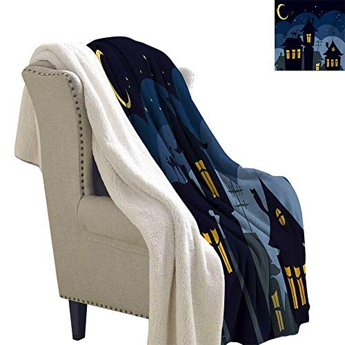 Sunnyhome Halloween Blanket Small Quilt 60x78 Inch Old Town with Cat on The Roof Night Sky Moon and Stars Houses Cartoon Art Flannel Throw Blanket Lightweight Soft Warm Blanket Black -