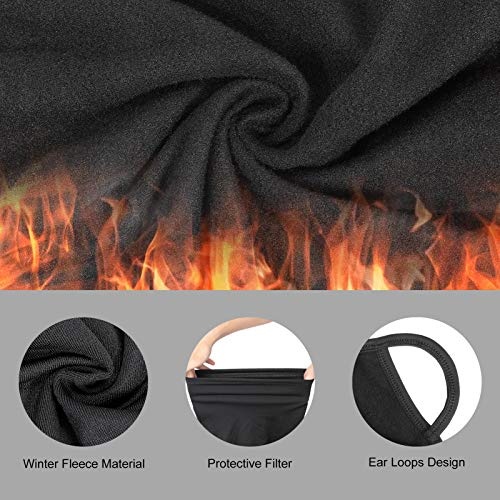 Warmer Face Scarf with Ear Loops Breathable Face Cover Mask Neck Gaiter Bandanas with Filter Pocket for Autumn&Winter