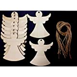 Derwent Laser Crafts Angel Shaped Wooden 90mm Gift Tags/Price Tags Pack of 10 shapes