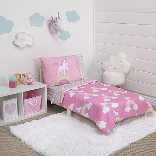 (Little Tikes Rainbow Unicorn 4 Piece Toddler Bedding Set, Pink)