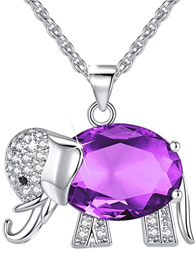 Elephant Crystal Jewelry - Womens and Girls Pendant Necklace Jewelry Purple Crystal Elephant Best Gift for Ladies