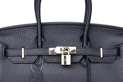 QZUnique Women's Cowhide Genuine Leather Fashion Zipper Buckle Belt Metalic Top Handle Bag
