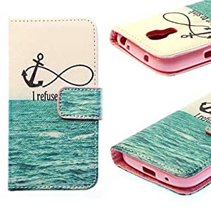 WQQ Sea Painting Falling Proof PU Leather Case with Stand and Solt Card for Samsung S4 Mini/I9190