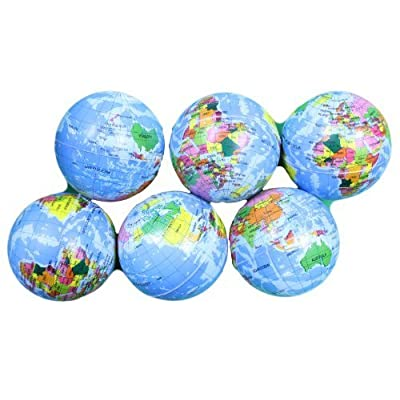 4 Inch Foam Stress Earth Globe Balls Lot of 6 Pieces (Great for classrooms!): Toys & Games