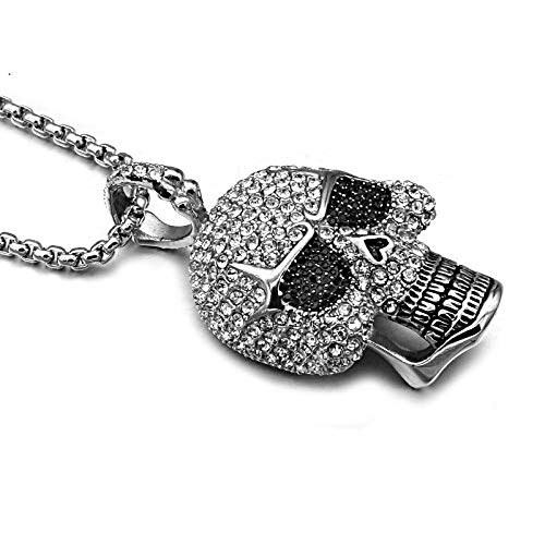Necklace For Men Hop Titanium Stainless Steel Ice Out Bling Full Micro Pave Rhinestone Skeleton Skull Pendant Necklace For Men Jewelry