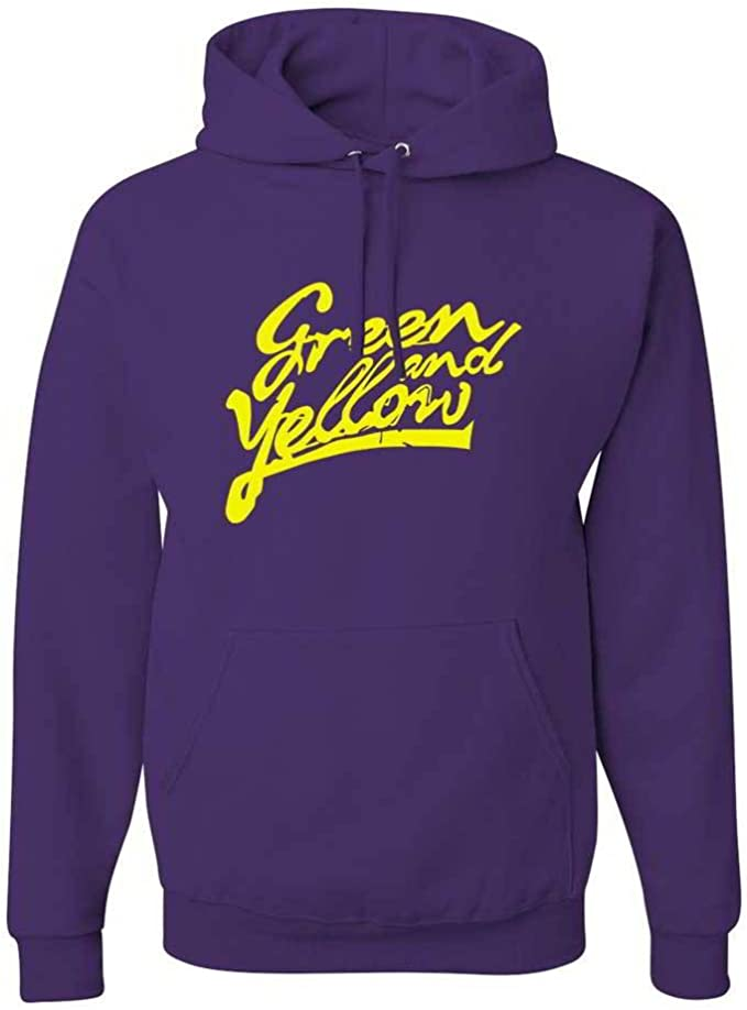 CheapAssTees Green and Yellow Graphic Clothing Hoody Small Black