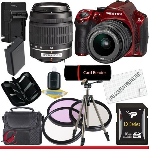 Pentax K30 Digital Camera (Red) with 18-55mm AL Lens Kit and 50-200mm AL Lens 16GB Package 5