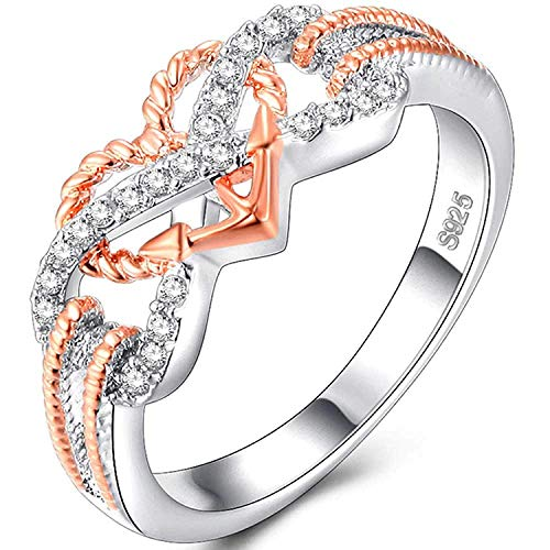 (YABINI White Gold Inlay CZ Heart Infinite Symbol Love Knot Ring Eternity Wedding Band,Rose Gold Silver )