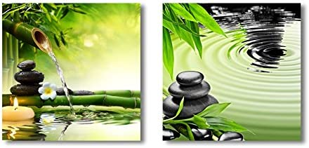 Canvas Wall Art - Zen Basalt Stones and Bamboo | Modern Home Art 2 Panel Canvas Prints Giclee Printing & Ready to Hang - 12