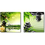 "wall26 Canvas Wall Art - Zen Basalt Stones and Bamboo | Modern Home Decor 2 Panel Canvas Prints Giclee Printing & Ready to Hang - 12""x12"" x 2 Panels"