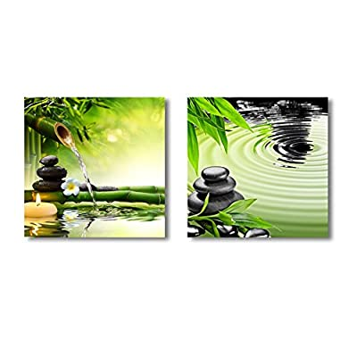 Premium Product, Charming Object of Art, Zen Basalt Stones and Bamboo 2 Panel x 2 Panels