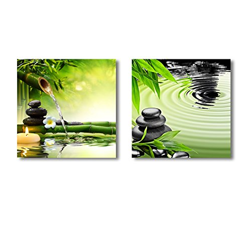 Zen Basalt Stones and Bamboo Wall Decor x 2 Panels