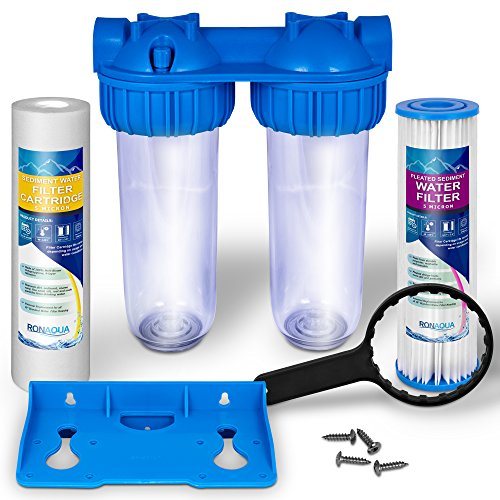 - Dual Whole House Water Filter Purifier (Pleated Sediment Water Filter and Sediment Filters)