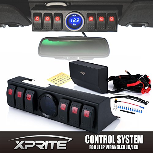 Xprite 6 Rocker Switches Panel Control System Assemblies W/ Wiring Harness & Voltage Display For 2007 - 2017 Jeep Wrangler JK&JKU