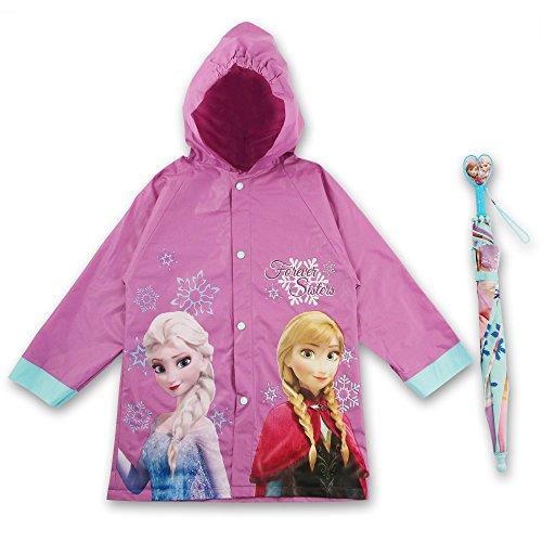 Disney Little Girls  Slicker and Umbrella Rainwear Set,Purple Frozen,Age 2-3