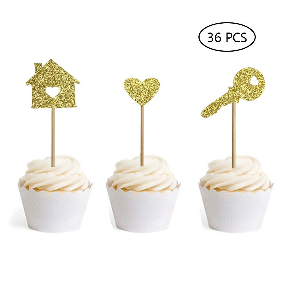 Home Cupcake Toppers New House Housewarming Party Decorations Welcome Gold Glitter Topper Set Of 36