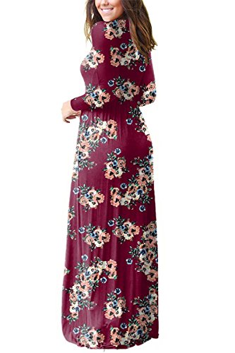 Floral Wine Casual Boho Sunfury Long Maxi with Print Sleeve Women Long Dress Pocket 7q6wfEwR