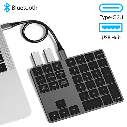 USB C Wireless Bluetooth Numeric Keypad with USB Hub VOAMOKO for MacBook MacBook Air MacBook Pro iPad Surface Windows Android - External Number Pad for Laptop & Tablets - Extended Battery Life (Bluetooth Keyboard Keypad)