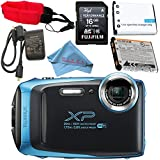 Fujifilm FinePix XP130 Digital Camera (Blue) #600019826 + Camera Floating Strap + Replacement Lithium Ion Battery + MicroFiber Cloth Bundle