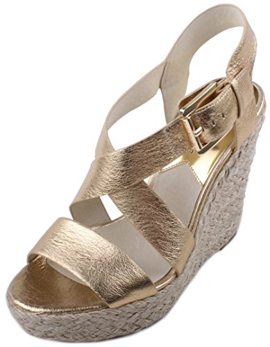 Michael Kors Giovanna Womens Pale Gold Metallic Leather Wedge Heel Sandals Size 10
