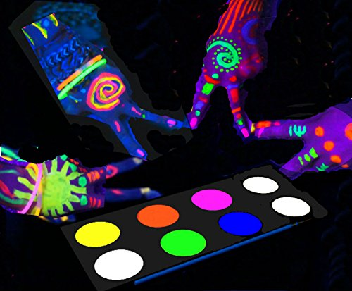 [Water Activated] UV Glow In The Dark Face Paint and Body Painting Set Neon Blacklight Reactive Fluorescent Palette Kit Glows Under Black Light Kids safe Non-toxic Perfect for Party Disco (Black Light Sensitive Paint)