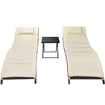Festnight Juego de 2 Tumbonas para Exteriores ratán PED Tmbona de Playa con Mesa Plegabl: Amazon.es: Jardín