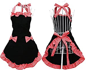 1950s House Dresses and Aprons History Hyzrz Womens Apron with Pockets Black and Red $9.64 AT vintagedancer.com