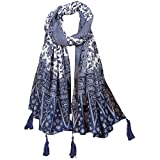 AssoetedFun Women's Chinese Style Blue and White Porcelain Warm Scarf National Oversize Cozy Wrap Shawl Classic Tassel Cape (One SIze, Blue and White Porcelain)