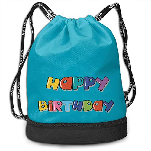 Address Verb Drawstring Backpack with Pocket Multifunctional Sturdy Happy Birthday Sackpack Sports Gym Shoulder String Bags -