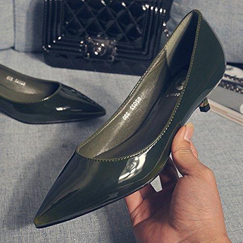 Punta Otoño Femeninos Solo Trabajan Principios GAOLIM Tacón Finos Zapatos Alto Con De A oscuro Zapatos Bajo Con Zapatos Que 3Cm Negros Poca Cómodos A Profesionales Verde qcgAttI