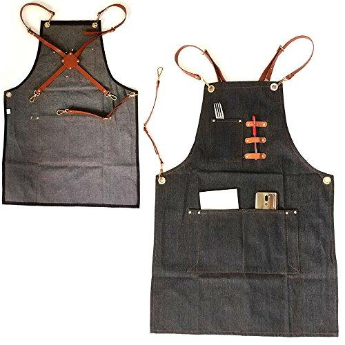 ZHONGPAI New Denim Jean Work Apron, Adjustable Shop Apron Chef Apron with Cross-back Leather Straps