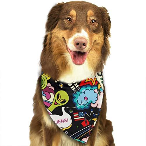 (KZEMATLI Cosmos Vector Dog Bandana Scarf Triangle Bibs Printing Kerchief Set Accessories Dogs Cats Pets)