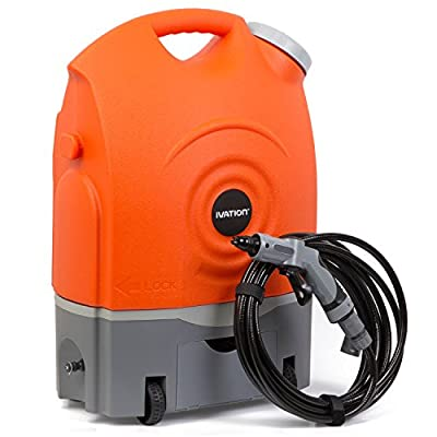 Ivation Multipurpose Portable Spray Washer w/Water Tank - Runs on Built-In Rechargeable Battery, Home Plug and 12v Car Plug - Integrated Roller Wheels