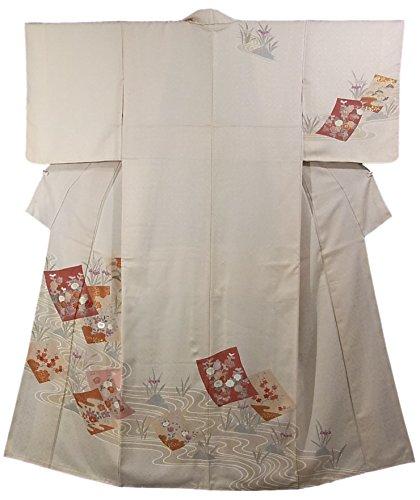 悪党告発者バックグラウンドリサイクル 着物 訪問着 杜若咲く水辺 色紙文 正絹 袷 裄62cm 身丈153cm