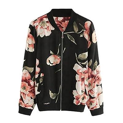 TOTOD Women Black Fashion Floral Print Zipper Bomber Jacket Outwear Coat