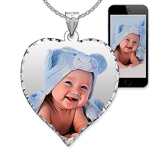 PicturesOnGold.com Personalized Photo Engraved Heart Shaped Custom Photo Pendant/Photo Necklace/Photo Charm with Diamond Cut Edge - 3/4 Inch x 3/4 Inch (14k White -