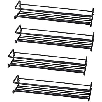 Set of 4 Wall-Mount Spice Rack Organizers - Metal Hanging Racks for Cabinet Door or Pantry Door- Over Stove, Kitchen Cupboard Or Under Cabinet - by Unum
