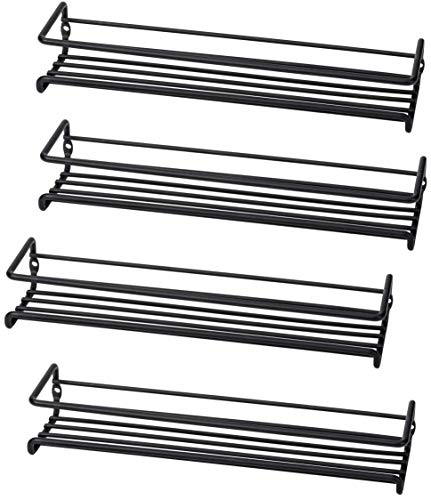 Set of 4 Wall-Mount Spice Rack Organizers - Metal Hanging Racks for Cabinet Door or Pantry Door- Over Stove, Kitchen Cupboard Or Under Cabinet - by Unum