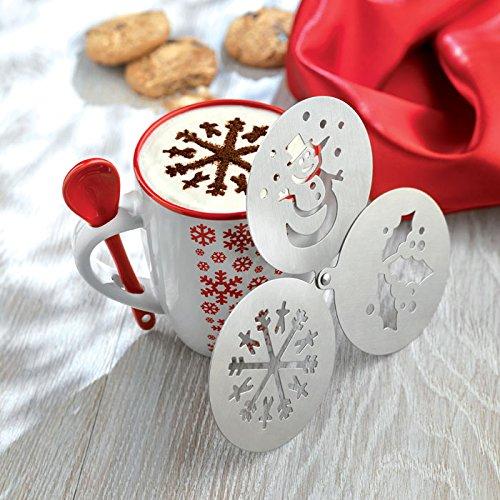Template Snowman - eBuyGB Christmas Coffee Stencil Duster - Snowflake, Mistletoe, Snowman, Cappuccino Template