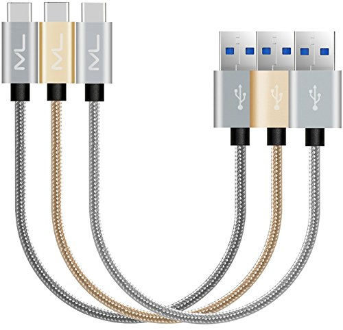 Price comparison product image USB 3.0 Type C Cable 3 Pack Short, USB C to USB 3.0 Samsung Galaxy S8 Fast Charger Hi-Speed Nylon Braided Cord for New Macbook Pixel XL Nexus 5X 6P LG G5 G6 V20 Nintendo Switch and More