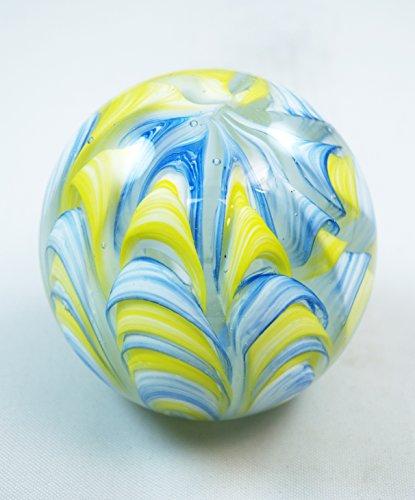M Design Art Handcraft Glass Art Rainbow Swirls Yellow Blue Handmade Art Glass Paperweight