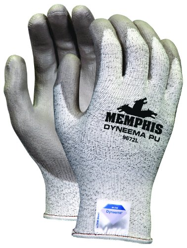 (Memphis Glove 9672M Dyneema 13-Gauge Polyurethane Salt and Pepper Shell Gloves with Palm and Finger Coating, Gray, Medium,)